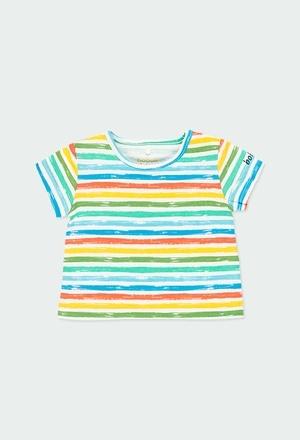 Camiseta malha ?s riscas para o beb? menino_1