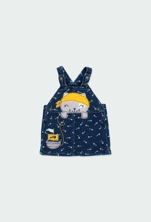 Plush pinafore dress denim for baby_1