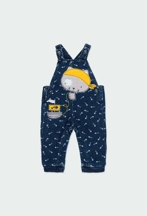 Fleece dungarees denim for baby boy_1