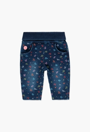 Fleece denim trousers for baby girl_1