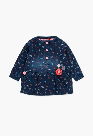 Fleece dress denim for baby girl_1