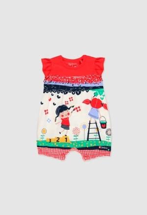 Grenouillère en tricot pour bébé fille_1