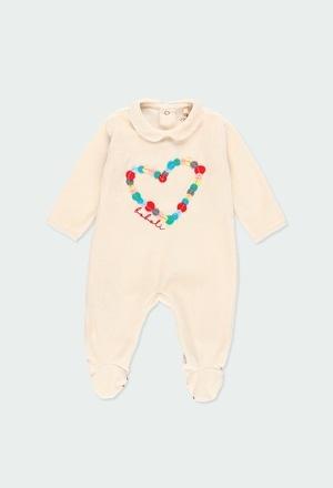 """Grenouillere en velours """"coeur"""" pour bébé fille_1"""