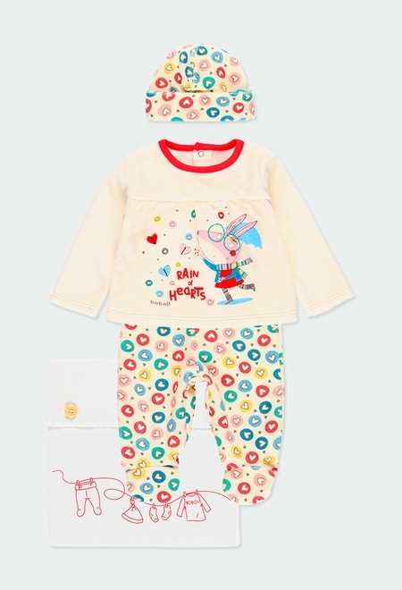 Pack en tricot coeurs pour bébé fille_1