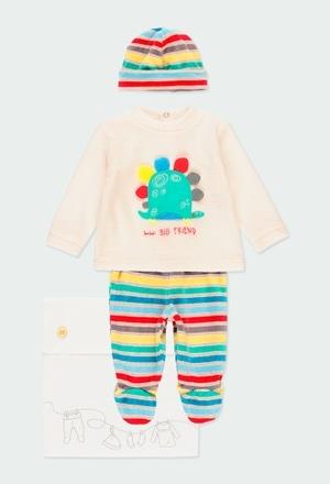 Pack en tricot bi matiere pour bébé garçon_1