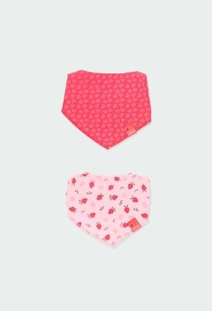 Pack 2 pañuelos babero de bebé niña_1