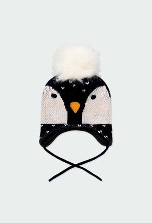 "Gorro tricotosa ""pingüino"" de bebé_1"