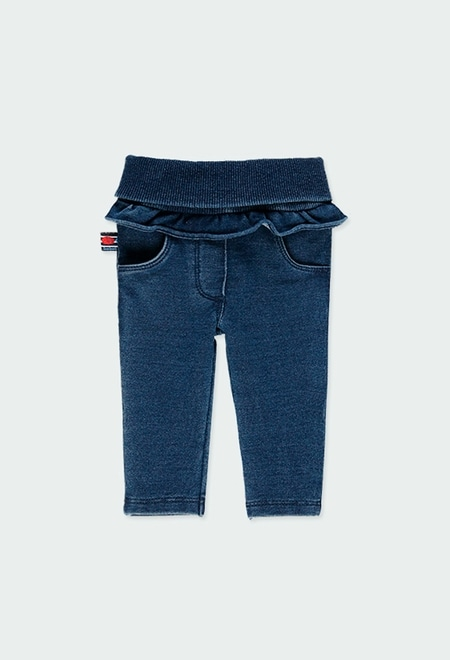 Fleece denim trousers with ruffles for baby_1