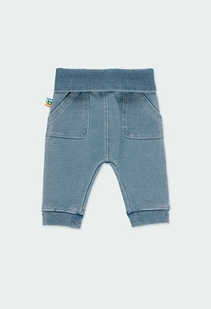 Fleece denim trousers for baby boy_1