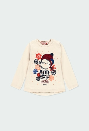 Knit t-Shirt flame with guipure for baby girl_1