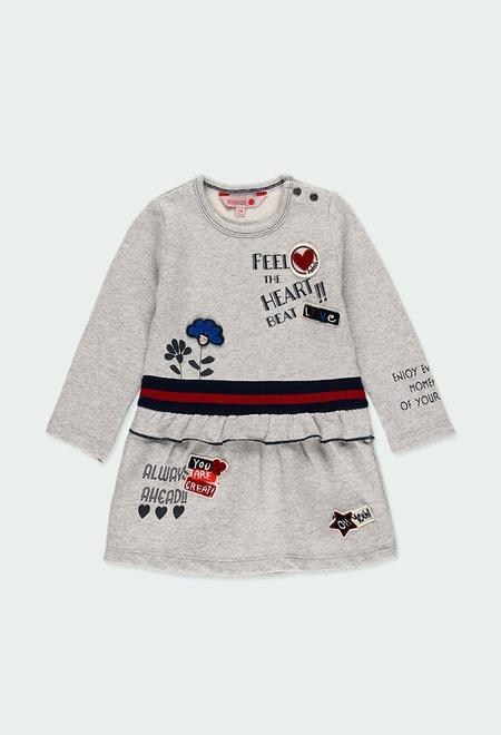 Robe en molleton fleurs et coeurs pour bébé_1