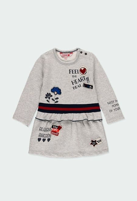 Vestido felpa floral e coração do bébé_1