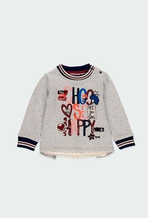 Sweat-Shirt plüsch mit guipure für baby mädchen_1