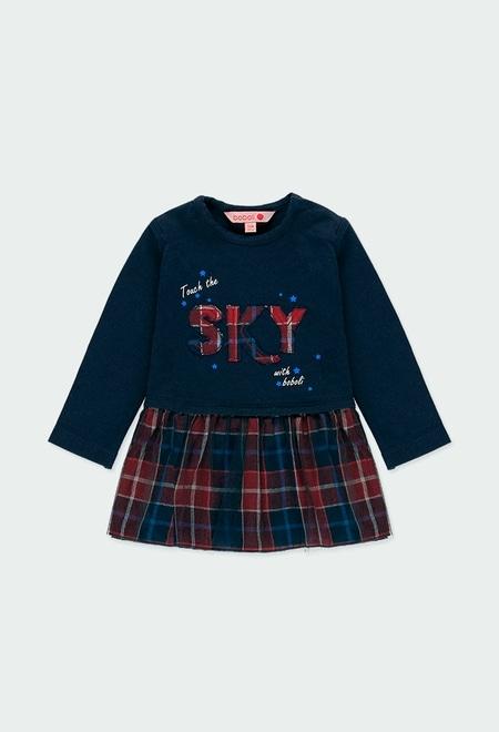 Vestido malha combinado quadros do bébé_1