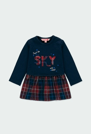 Vestito jersey combinato quadri per neonati_1