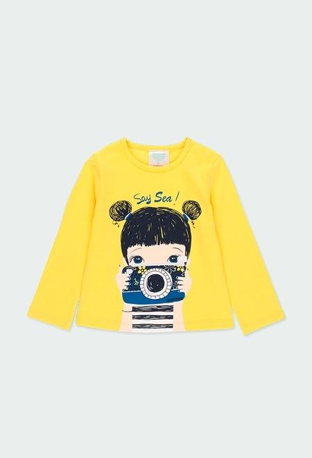 """Camiseta malha """"c?mera"""" para o beb? menina_1"""