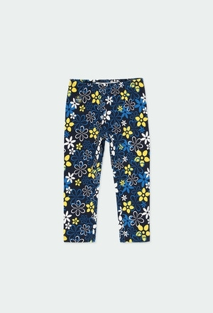 Stretch knit leggings floral for baby girl_1