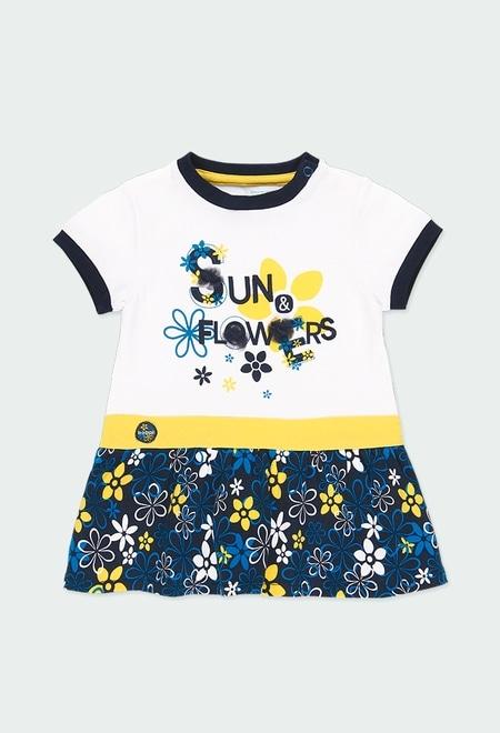 """Vestido malha combinado """"floral"""" para o beb? menina_1"""