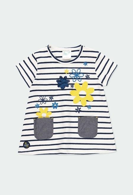 Kleid gestrickt elastisch gestreift für baby mädchen_1