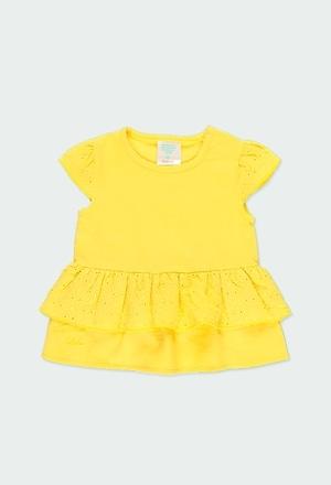 Camiseta malha com folhos para o beb? menina_1