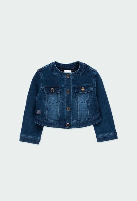 Fleece jacket denim for baby girl_1
