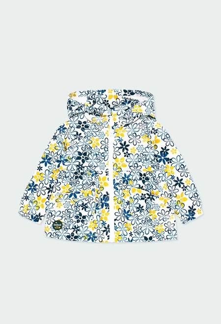 Technical fabric parka floral for baby girl_1