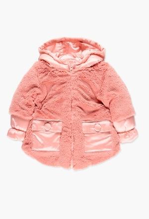 Parka tecido técnico combinado para o bebé menina_1