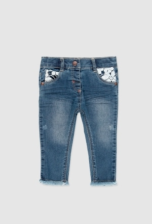 Denim stretch trousers for baby girl_1
