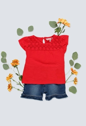 T-Shirt tricot flame pour bébé fille_1