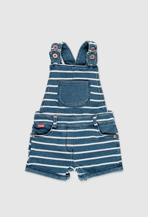 Fleece dungarees denim for baby girl_1
