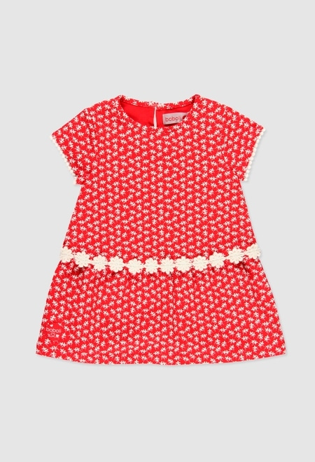Knit stretch dress for baby girl_1