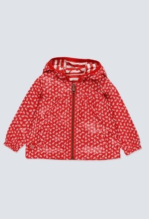 Reversible technical fabric parka for baby girl_1