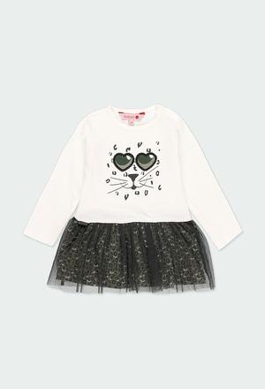 """Vestido malha """"óculos"""" para o bebé menina_1"""