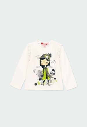 Camiseta malha com folhos para menina_1