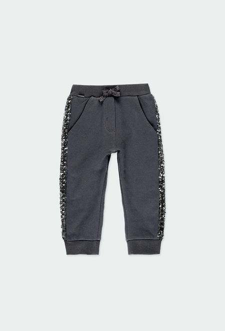 Pantalón felpa con lentejuelas de bebé_1