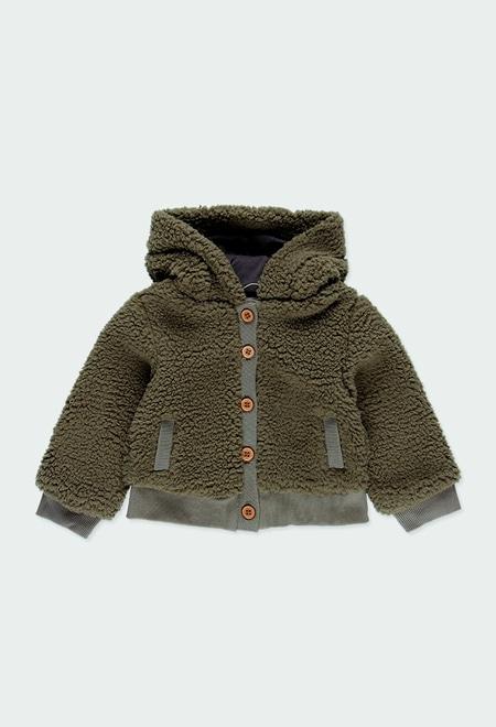 Fluffy hooded jacket for baby girl_1