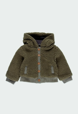 Fluffy hooded jacket for baby girl_1