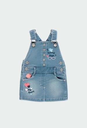 Jupe salopette en molleton jean pour bébé fille_1