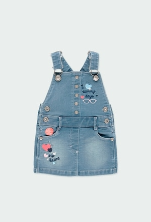 Plush pinafore dress denim for baby girl_1