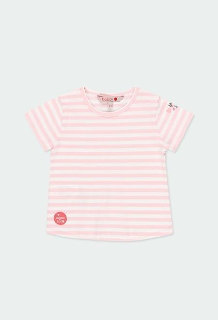 Camiseta malha ?s riscas para o beb? menina_1