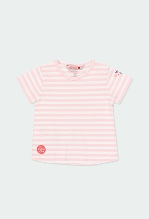 Camiseta malha às riscas para o bebé menina_1