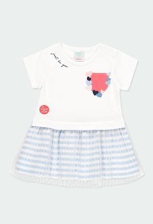 Vestido punto con tul de bebé niña_1