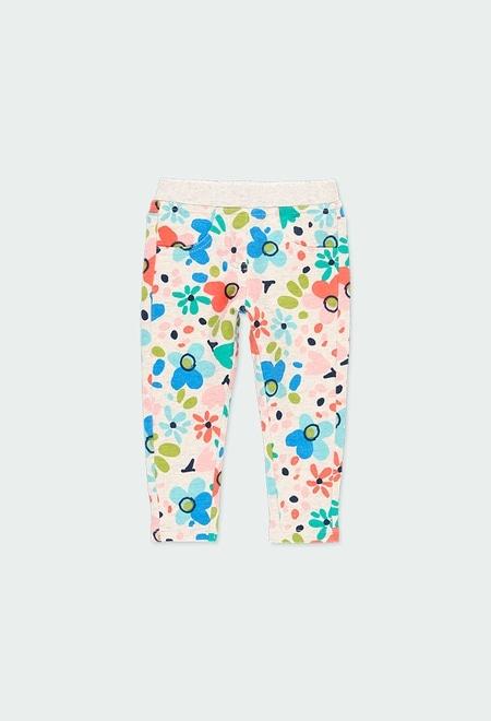 Pantalón felpa flores de bebé niña_1