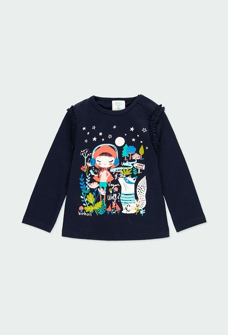 T-Shirt tricot imprimée pour bébé fille_1