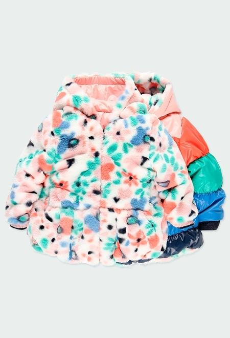 Parka réversible fleurs pour bébé fille_1