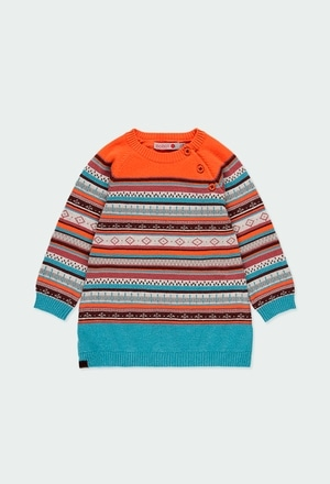 Vestido tricotosa jacquard de bebé niña_1