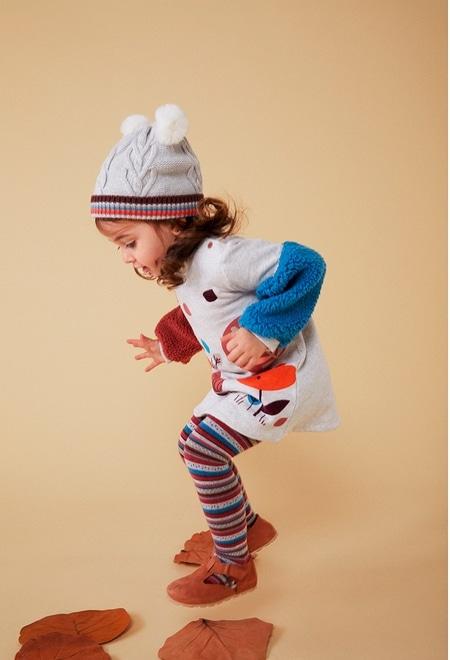 Robe en molleton avec bandes pour bébé fille_1