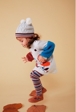 Fleece dress with stripes for baby girl_1