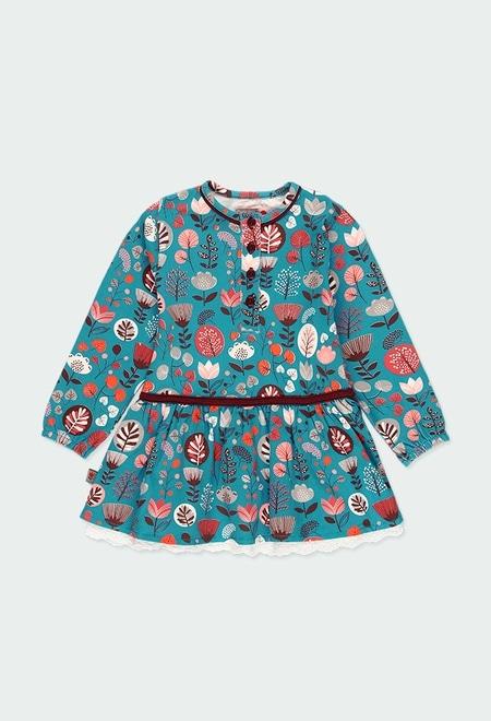 Vestido malha elástico floral do bébé_1