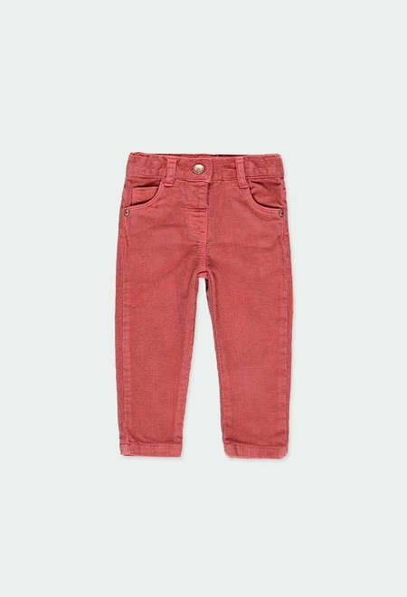 Corduroy stretch trousers for baby girl_1